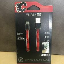 NEW, NHL Flames Micro USB Flat Cable Compatible w/ Androids,Blackberry, Kobo