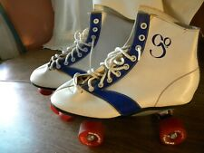 Vintage Roller skates. Women's size 9.  White and blue with red wheels. Go!