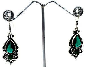 """925 Sterling Silver Green Tourmaline Gemstone Jewelry Earrings Size-1.20"""""""