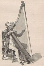 C1327 Harpiste gallois jonant de la telyn - Xilografia - 1867 Vintage engraving
