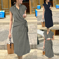 UK Women Sleeveless Collared Office Work Ladies Dress Belted Tie Striped Dresses
