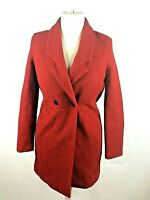 Ladies Zara Red Button Up Mid Length Coat Jacket Size 8