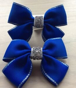 2 Girls Royal Blue And Silver Handmade Ribbon School Hair Bows / Clasps / Clips