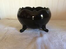 Smith Glass Mt Pleasant Pattern Black Amethyst Bowl 3 Footed Deco Period 1920-34