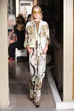 EMILIO PUCCI Green Silk Print Tie Waist Button Leg Pants 40 6
