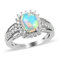 925 Sterling Silver Platinum Over Opal Zircon Halo Ring Jewelry Size 8 Ct 1.9