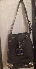 NICE...PIERO GUIDI Linea Bold Black Nylon Leather Drawstring Bucket Bag Italy