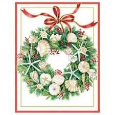 """Caspari Boxed Foil Embossed Christmas Cards, 4.75"""" x 6"""", Shell Wreath (89233)"""