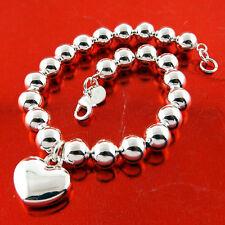 Sf Bead Link Heart Charm Design Bracelet Bangle Genuine Real 925 Sterling Silver