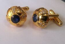 14K Solid Yellow Gold Natural Sapphire & Topaz Gem Stone Men's Cufflink jewelry