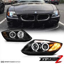 2003-2008 BMW Z4 Coupe Roadster M-Power Black Angel Eye Halo Headlights Headlamp