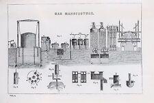 Fabbricazione A GAS-Antico B/N stampa litografia-ENCICLOPEDIA c19th