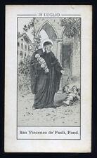 antico santino litografico- holy card S.VINCENZO DE PAOLI