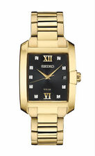 Seiko Men's Solar Diamond Dial Gold Tone Stainless Steel Watch SNE462
