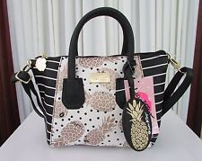 Luv Betsey Johnson Small Pineapple Crossbody Satchel Bag Stripes Gold Black NWT