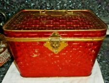 LARGE VINTAGE HINGED TIN PICNIC BASKET-LUNCH BOX- RED BASKET LOOK