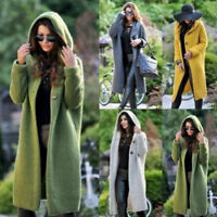 Womens Baggy Cardigan Coat Tops Ladies Chunky Knitted Sweater Jumper Hood
