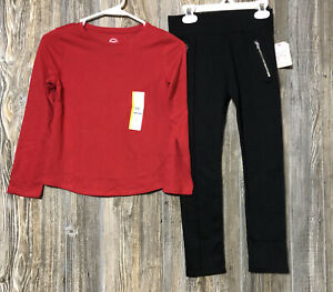 Wonder Nation and Faded Glory Girls Lot of 2 NWT Black Pants & LS Red Shirt 7/8
