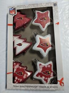 Arizona Cardinals Shatterproof TREES & STARS Christmas Tree Ornaments Set 6 pack