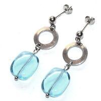 Boucles d'oreilles acier inoxydable galet de cristal bleu bijou