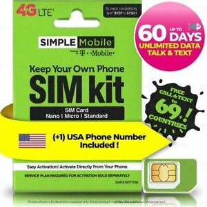 USA Up to 60 Days $30 UNLIMITED DATA TALK TEXT Prepaid Travel SIM Hotspot , (5G)