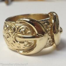 "NICE CHUNKY 32g HANDMADE 9CT GOLD ON JEWELLERS BRONZE DOUBLE BUCKLE RING ""SIZE Y"
