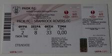 old TICKET EL PAOK Saloniki Greece Shamrock Rovers Ireland