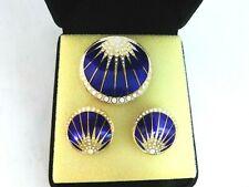 Vintage Enameled Brooch + Earrings Midnight Blue Starburst Matching Set