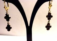 Vintage Sterling & Rose Cut Bohemian Garnet Lever Back Drop Earrings