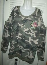 LILI SPORT WOMENS Military Wife CAMOUFLAGE Cut Out Shoulder Sweater Blouse Jrs