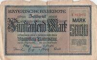 Bayerische Banknote 5000 Mark Notenbank München aus dem Jahr 1922
