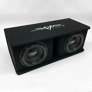 "USED SKAR AUDIO SDR-2X12D4 DUAL 12"" 2400 WATT LOADED PORTED SUBWOOFER ENCLOSURE"
