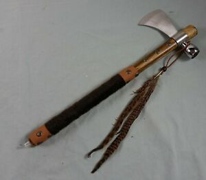 "New 19"" Chief Native American Tomahawk Hatchet Replica Axe Functional Peace Pipe"