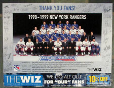 "WAYNE GRETZKY FINAL SEASON 1999 NY RANGERS Team Photo 13""x17"" Card Stock Poster"