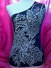 one shoulder top size 12 made Italy silver gold print diamante eyelets holiday