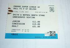 HULL F C v St HELENS 4th JUNE 2010 TICKET