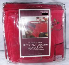 "Tablecloth 70X70 Inch Christmas Red Velvet Embroidery Square Fits 44-60"" Table"