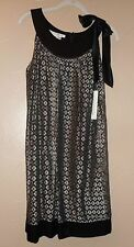NWT MAGGY LONDON Black SILVER Lace  Dress NWT $128 BLACK TRIM & TIES SHOULDER