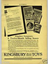 1928 PAPER AD Kingsbury Motor Drive Driven Toys Selling Markerting Program