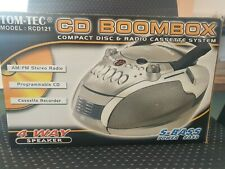 Neue Tragbare CD-Boombox CD Player Kassettenrecorder Stereo Radio von Tom-Tec