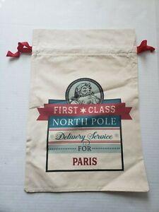 21 inch * 14 inch Paris Santa Sacks Canvas Bag Drawstring Christmas Kids Xmas