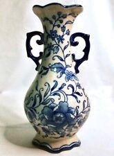 Vintage Blue & White Floral Double Handled Ceramic Porcelain Vase