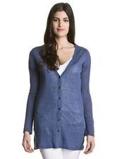 ESCALES Paris linen cardigan sweater jumper pull maglia lino blu donna S BNWT