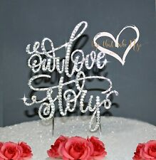 Our Love Story Wedding Cake Topper in Rhinestones anniversary engagement topper