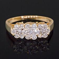 1 carat Diamond Flower Ring Yellow Gold Right Hand Three Stone Cluster Round ct