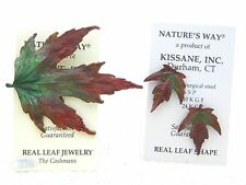 NATURE'S WAY Real Leaf Red Green Leaf Pin Brooch Pendant Post Earrings