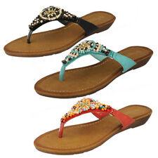 Sandalias y chanclas de mujer planos de color principal multicolor