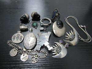 Lot of 15 Sterling Silver Scrap Earrings Necklace Bracelet Ring Pendants