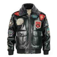 Avirex Air Force Bomber Jacket  Genuine Leather Men G1 Winter Fur Collar Coat sz