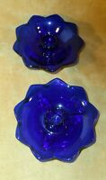 Fenton #848 Cobalt ROYAL BLUE Glass Lotus  Flower Footed Candle Holders